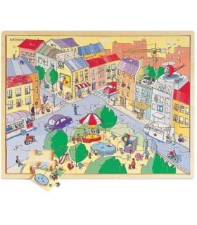 W mieście- puzzle drewniane