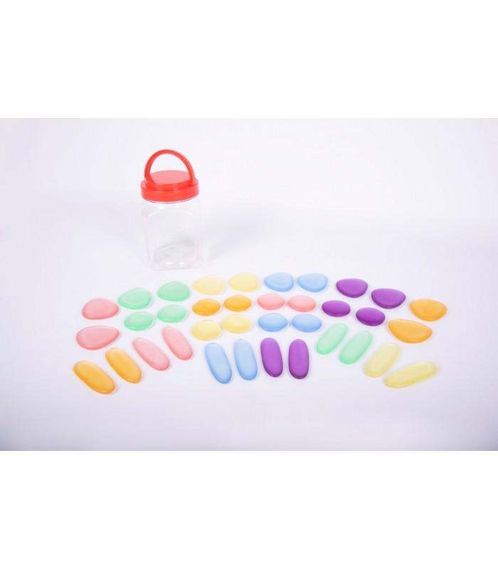 Przezroczyste kolorowe kamyki