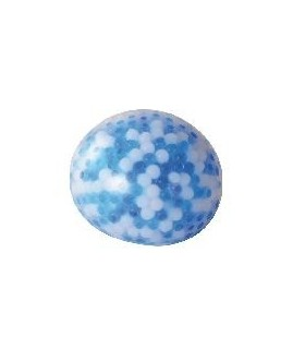 Piłka gniotek z kuleczkami niebiesko-biała 10cm