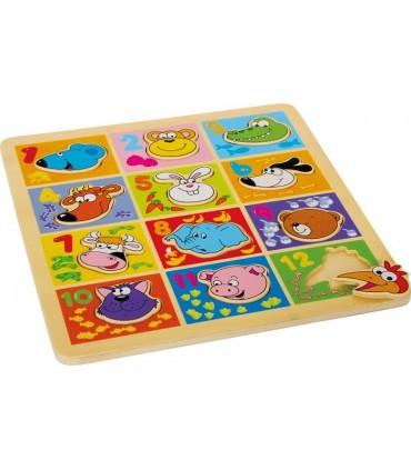 Puzzle zwierzęta z liczbami