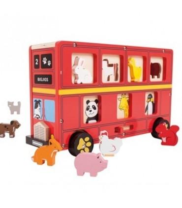 Czerwony autobus zwierzątek