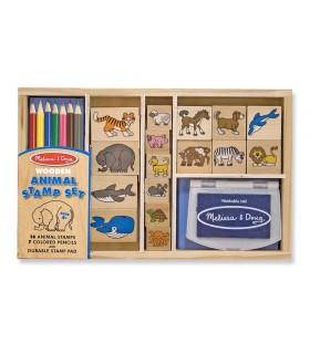 Drewniane pudełko stempelków - zwierzątka