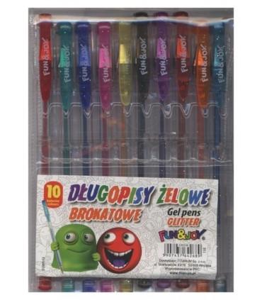 Długopisy żelowe brokatowe 10 kolorów