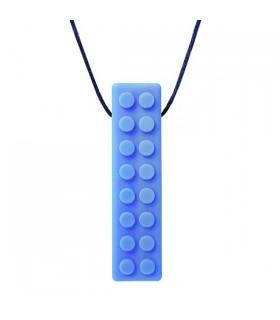 Gryzak/naszyjnik logopedyczny klocek niebieski