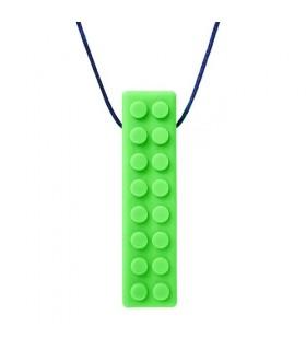 Gryzak/naszyjnik logopedyczny klocek zielony
