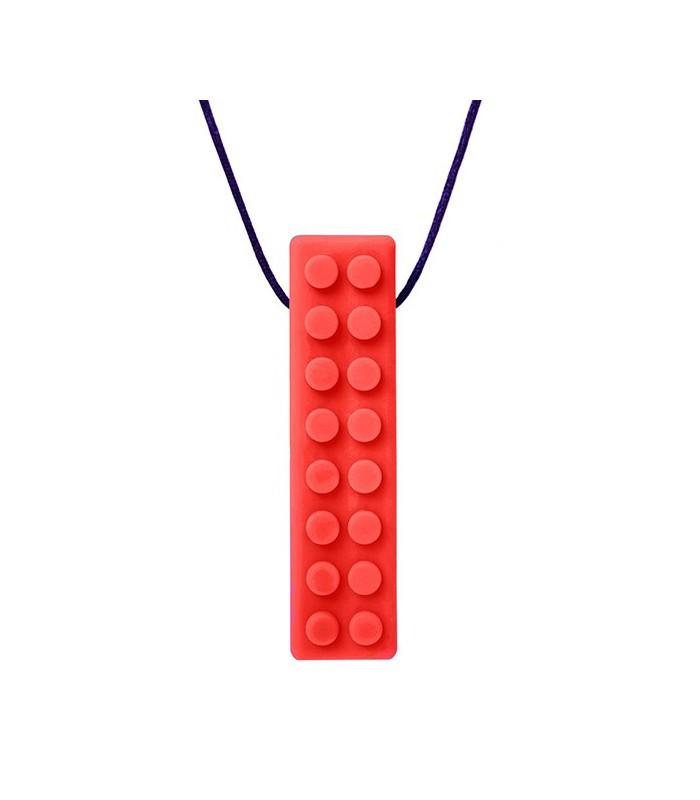 Gryzak/naszyjnik logopedyczny klocek czerwony