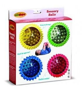 Zestaw 4 sensorycznych, przezroczystych piłek (10cm)